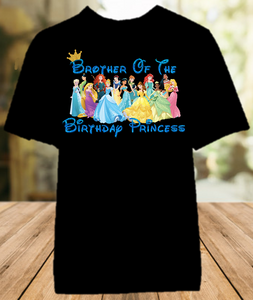 Disney Princesses Birthday Party Vacation Personalized Sibling Brother Color Shirt - All Sizes - DPBCS1