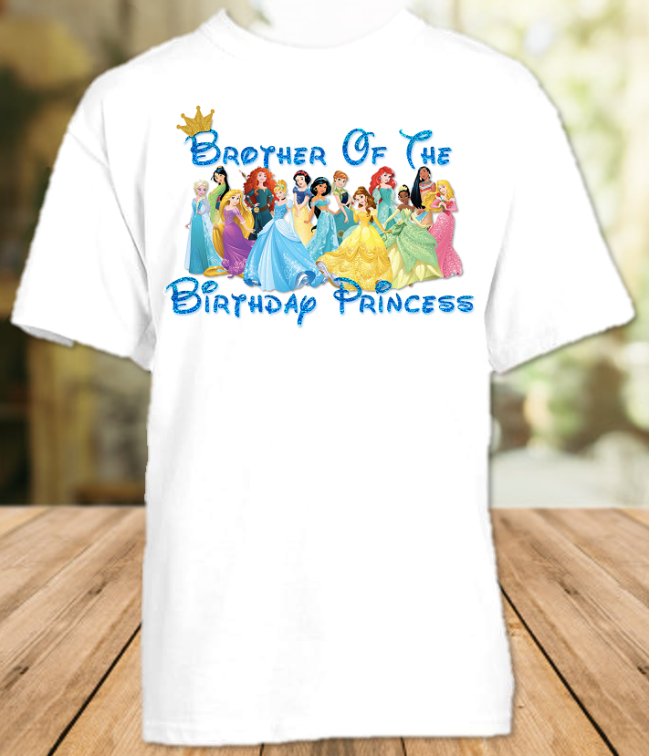 Disney Princesses Birthday Party Vacation Personalized Sibling Brother Shirt or Onesie - All Sizes - DPBS1