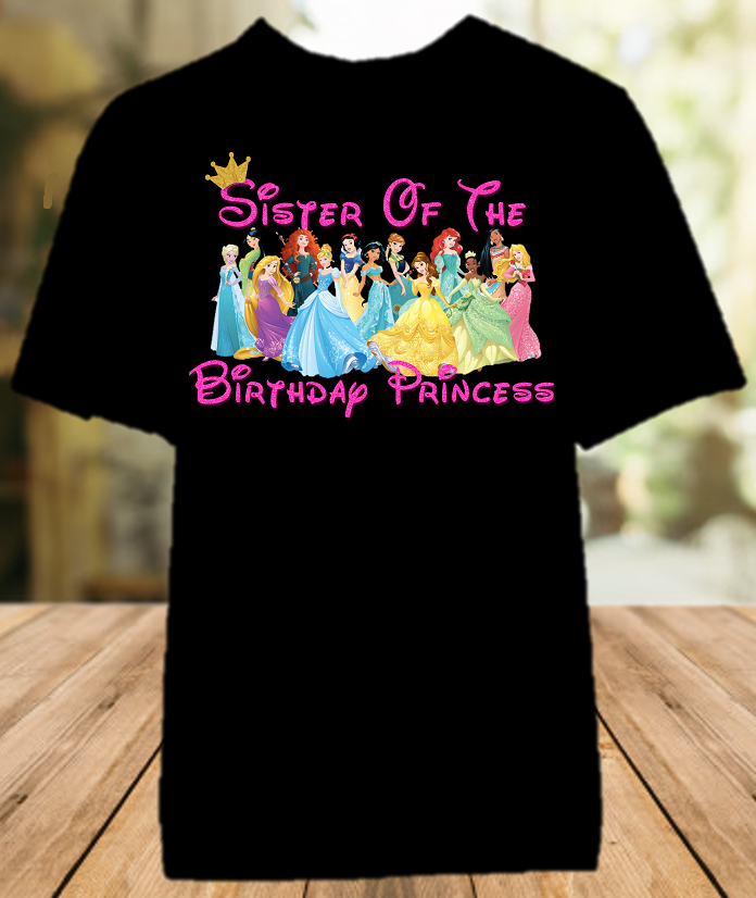 Disney Princesses Birthday Party Vacation Personalized Sibling Sister Color Shirt - All Sizes - DPSCS1