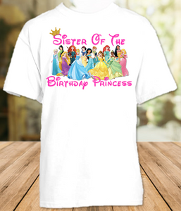 Disney Princesses Birthday Party Vacation Personalized Sibling Sister Shirt or Onesie - All Sizes - DPSS1