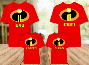 Disney World Family Vacation Incredibles 2 Personalized Color T Shirt - 4 Pack - DIC4P