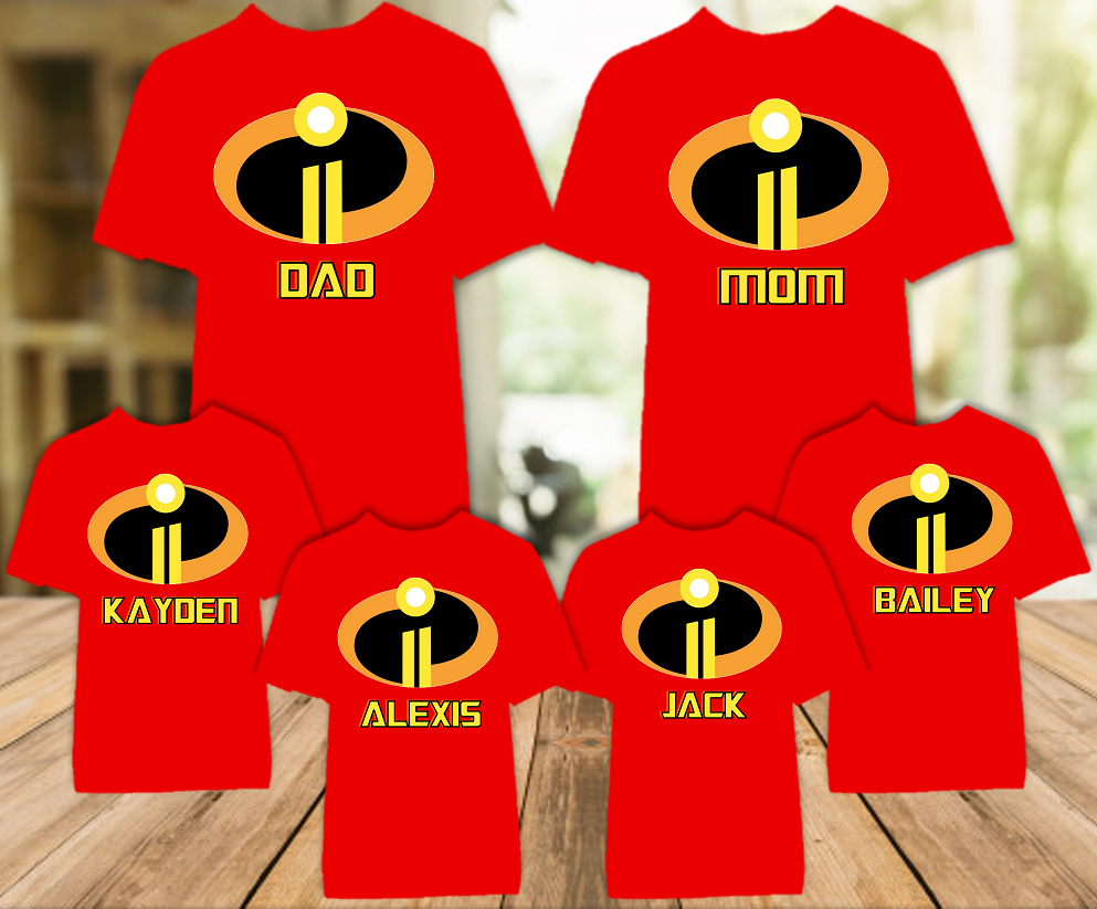 Disney World Family Vacation Incredibles 2 Personalized Color T Shirt - 6 Pack - DIC6P