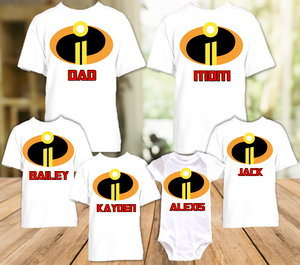 Disney World Family Vacation Incredibles 2 Personalized T Shirt or Onesie - 6 Pack - DI6P