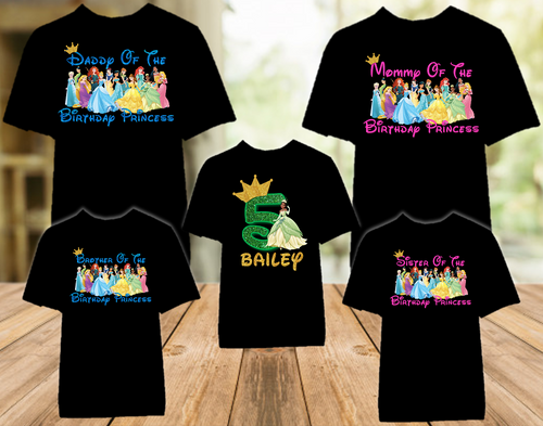 Princess Tiana Frog Birthday Party Personalized Color T Shirt - 5 Pack - TPFC5P