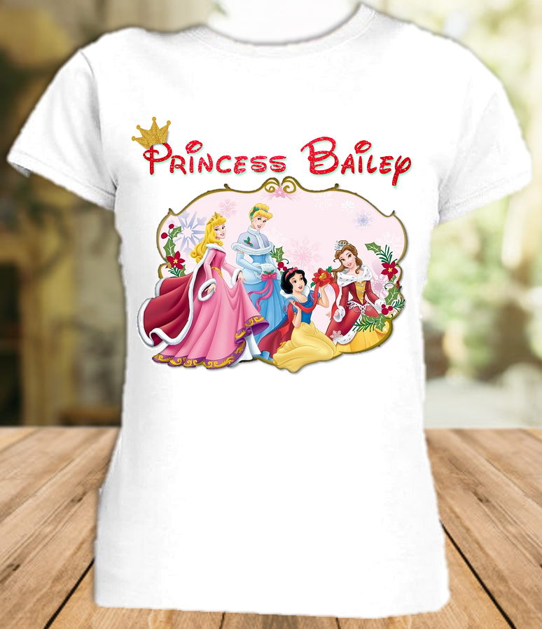 Disney Princesses Christmas Vacation Personalized T Shirt or Onesie - All Sizes - DPCVS1