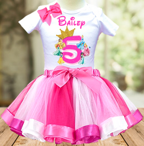 Disney Princesses Birthday Party Vacation Personalized Ribbon Tutu Outfit - All Sizes - DPTO01