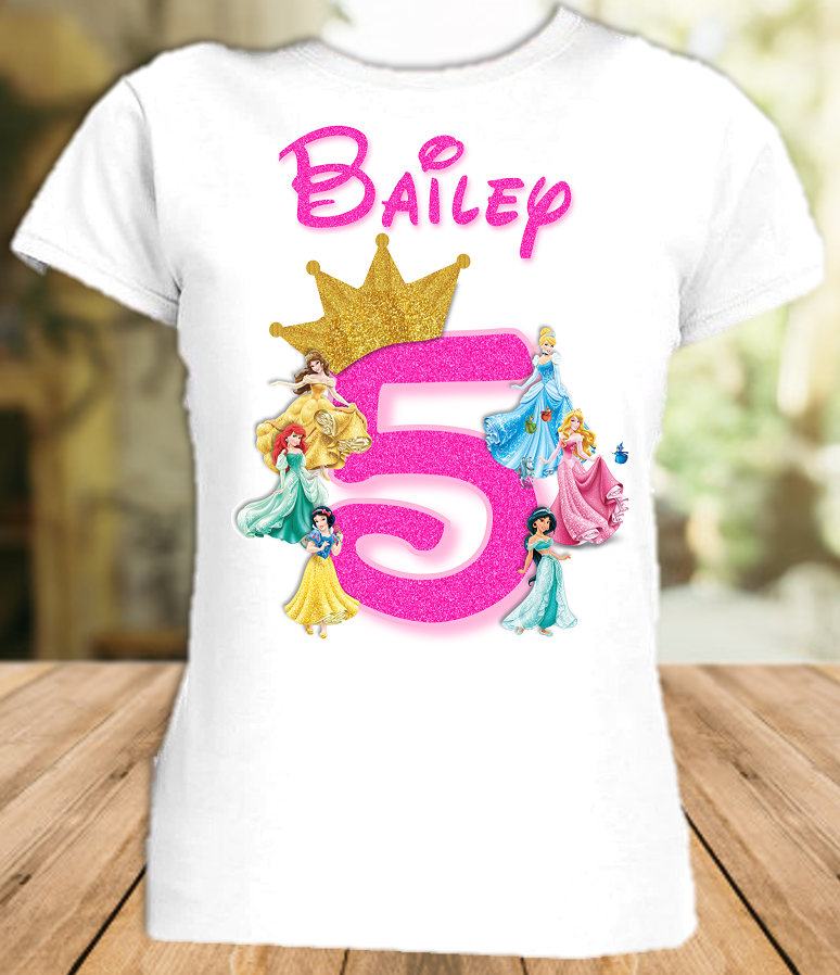Disney Princesses Birthday Party Vacation Personalized T Shirt or Onesie - All Sizes - DPS1