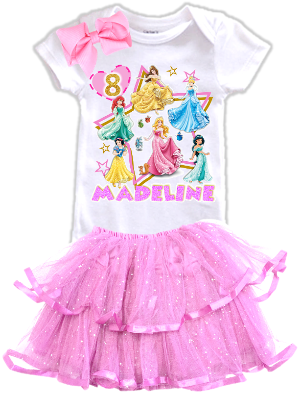 Disney Princesses Birthday Party Personalized Glitter Tutu Outfit - All Sizes - DPTIERTO01