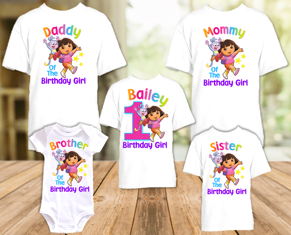 Dora The Explorer Birthday Party Personalized T Shirt or Onesie - 5 Pack - DE5P