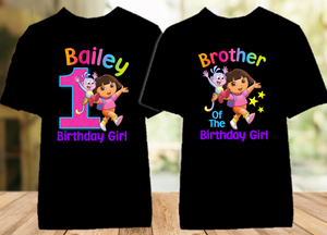 Dora The Explorer Birthday Party Personalized Color T Shirt - 2 Pack - DEC2P