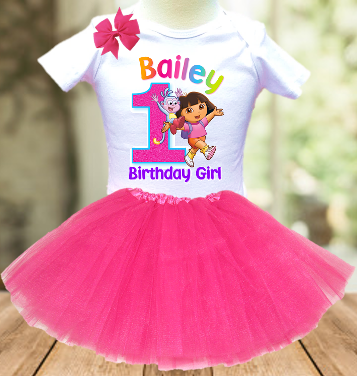 Dora The Explorer Birthday Party Personalized Layer Tutu Outfit - All Sizes Available - DETO01A