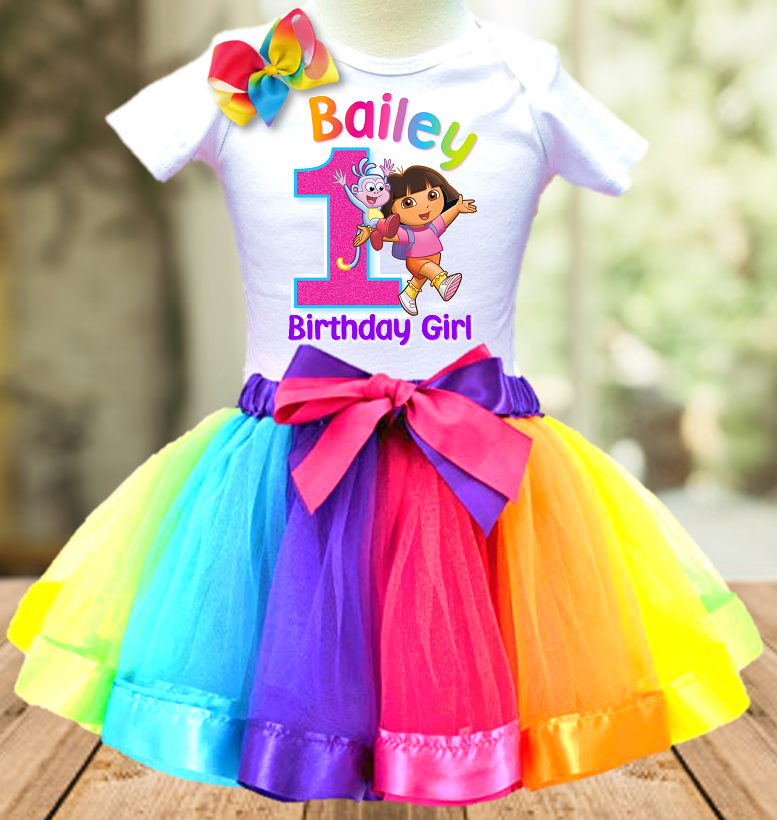 Dora The Explorer Birthday Party Personalized Ribbon Tutu Outfit - All Sizes Available - DETO01