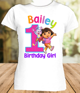 Dora The Explorer Birthday Party Personalized T Shirt or Onesie - All Sizes - DES1