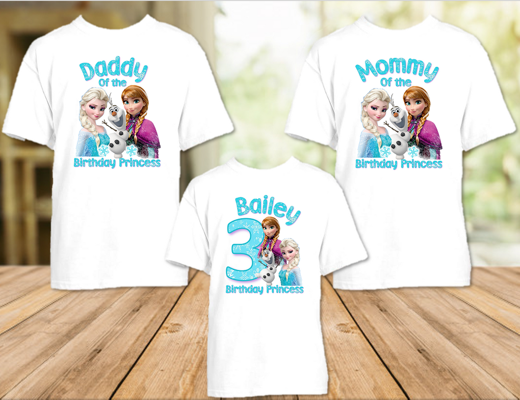 Frozen Elsa and Anna Birthday Party Personalized T Shirt or Onesie - 3 Pack - F3P