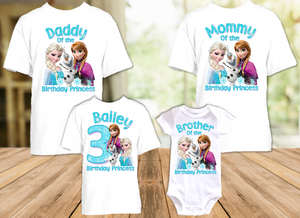 Frozen Elsa and Anna Birthday Party Personalized T Shirt or Onesie - 4 Pack - F4P