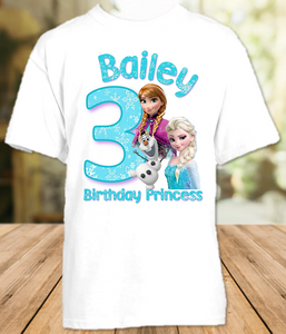 Frozen Elsa and Anna Birthday Party Personalized T Shirt or Onesie - All Sizes - FS1
