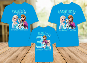 Frozen Elsa and Anna Birthday Party Personalized Color T Shirt - 3 Pack - FC3P