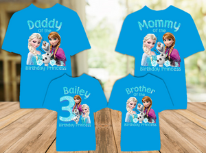 Frozen Elsa and Anna Birthday Party Personalized Color T Shirt - 4 Pack - FC4P