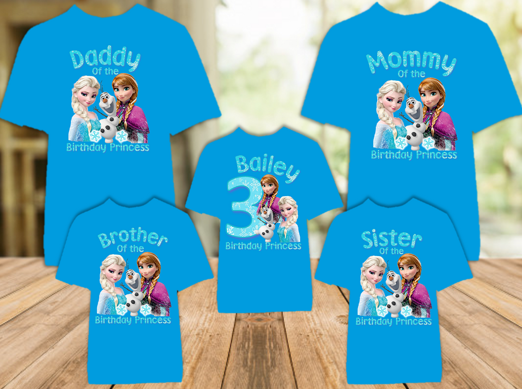 Frozen Elsa and Anna Birthday Party Personalized Color T Shirt - 5 Pack - FC5P