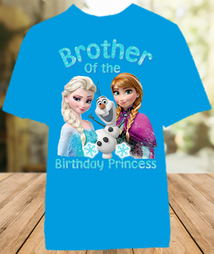 Frozen Elsa and Anna Birthday Party Personalized Sibling Brother Color T Shirt - All Sizes - FBCS1