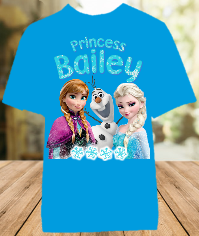 Frozen Elsa and Anna Party Personalized Color T Shirt - All Sizes - FPCS1
