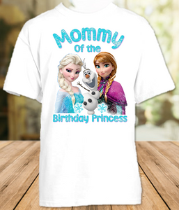 Frozen Elsa and Anna Birthday Party Personalized Mom Mommy Mother T Shirt - All Sizes - FMS1