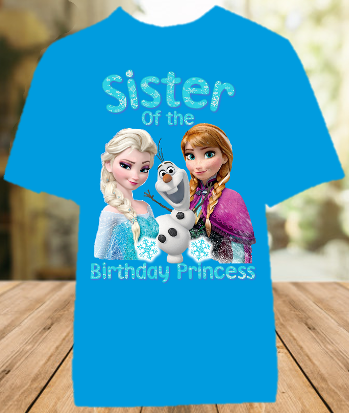Frozen Elsa and Anna Birthday Party Personalized Sibling Sister Color T Shirt - All Sizes - FSCS1