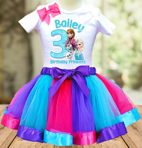 Frozen Anna and Elsa Birthday Party Personalized Ribbon Tutu Outfit - All Sizes Available - FTO01