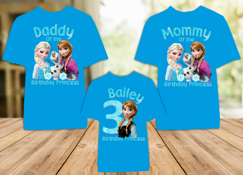 Frozen Princess Anna Birthday Party Personalized Color T Shirt - 3 Pack - FAC3P