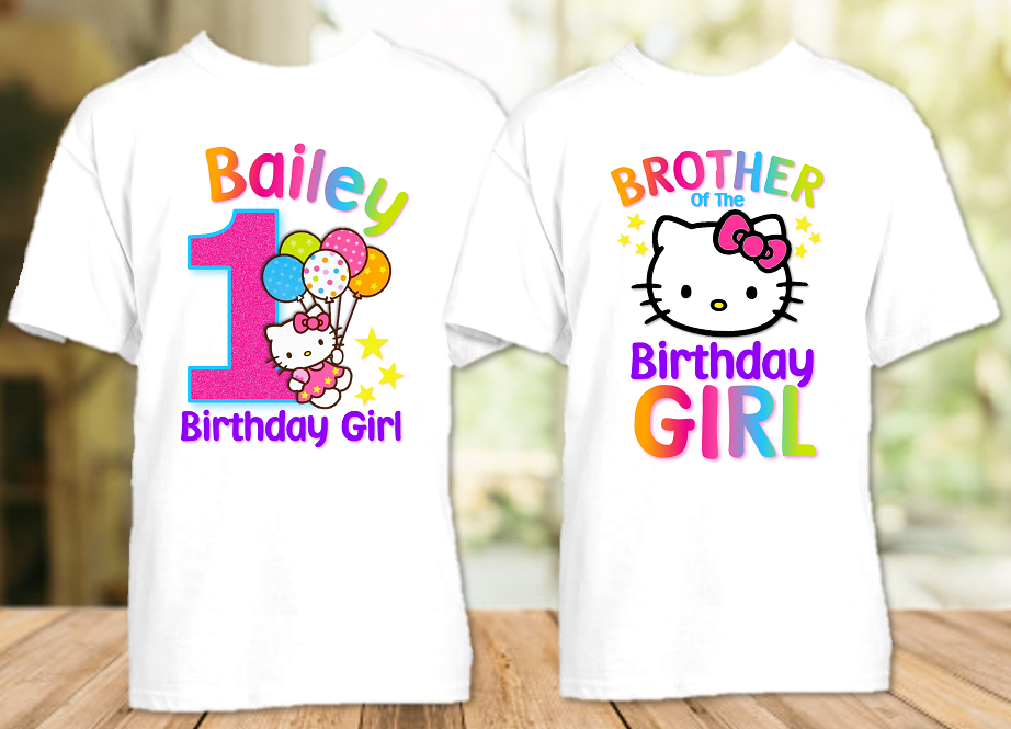 Hello Kitty Birthday Party Personalized T Shirt or Onesie - 2 Pack - HK2P
