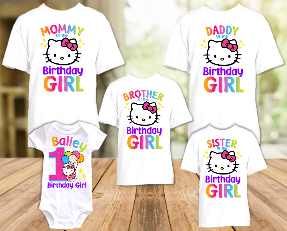 Hello Kitty Birthday Party Personalized T Shirt or Onesie - 5 Pack - HK5P