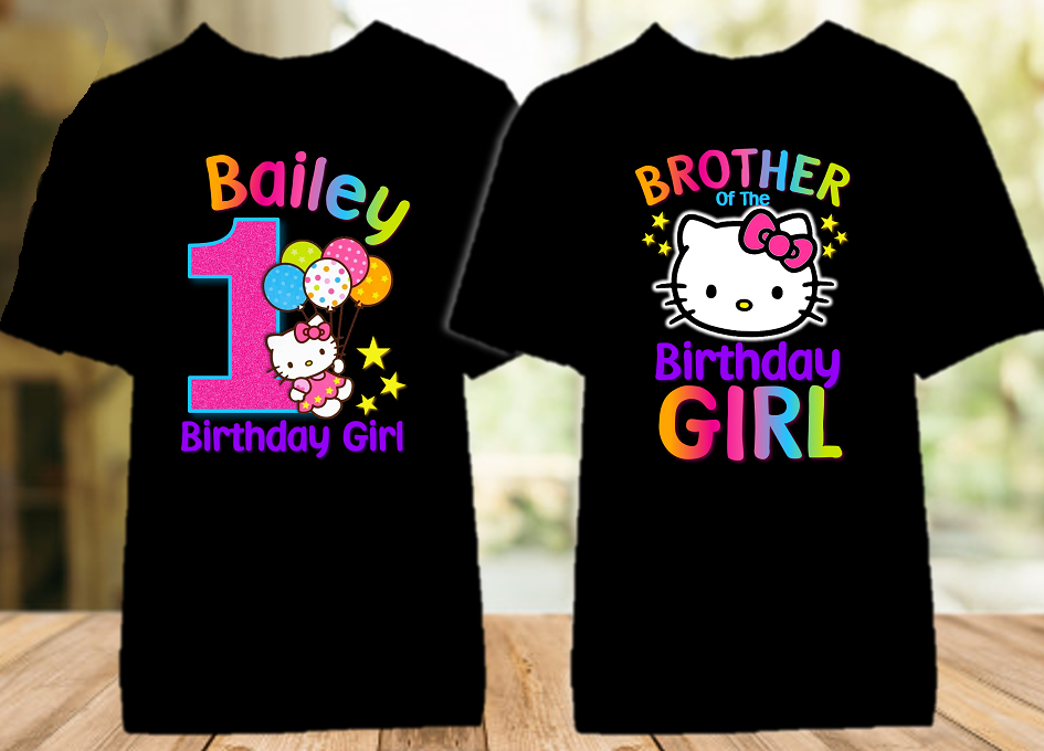 Hello Kitty Birthday Party Personalized Color T Shirt - 2 Pack - HKC2P
