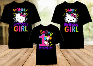 Hello Kitty Birthday Party Personalized Color T Shirt - 3 Pack - HKC3P