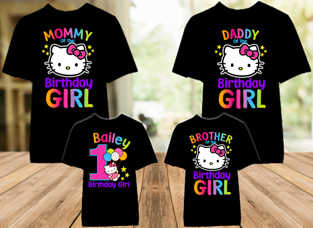 Hello Kitty Birthday Party Personalized Color T Shirt - 4 Pack - HKC4P