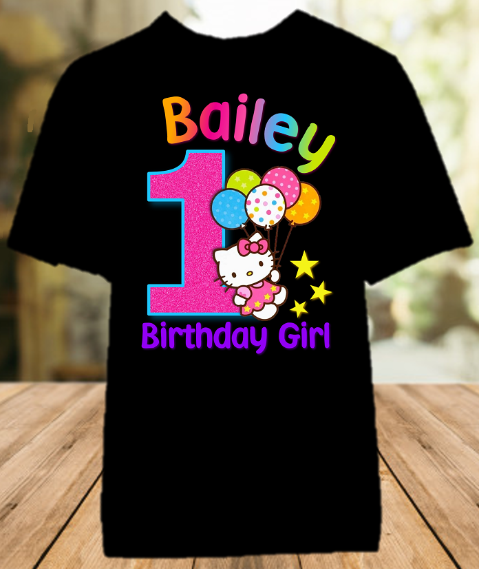 Hello Kitty Birthday Party Personalized Color T Shirt - All Sizes - HKCS1