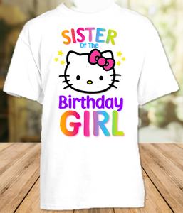 Hello Kitty Birthday Party Personalized Sibling Sister T Shirt or Onesie - All Sizes - HKSS1