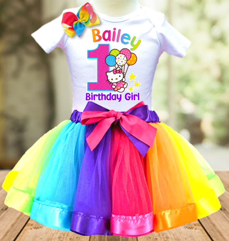Hello Kitty Birthday Party Personalized Ribbon Tutu Outfit - All Sizes Available - HKTO01