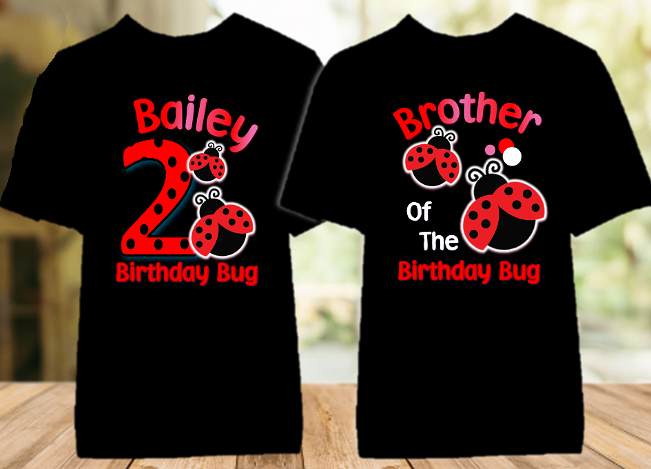 Ladybug Birthday Party Personalized Color T Shirt - 2 Pack - LC2P
