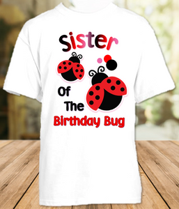 Ladybug Birthday Party Personalized Sibling Sister T Shirt or Onesie - All Sizes - LSS1