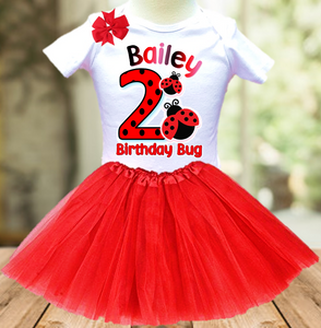 Ladybug Birthday Party Personalized Layer Tutu Outfit - All Sizes - LABTO01A