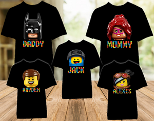 Legoland Lego Movie Faces Family Vacation Personalized Color T Shirt - 5 Pack - LVC5P