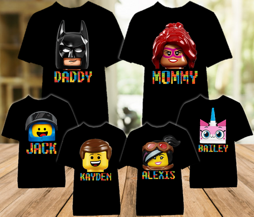 Legoland Lego Movie Faces Family Vacation Personalized Color T Shirt - 6 Pack - LVC6P
