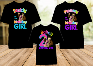 Masha and The Bear Birthday Party Personalized Color T Shirt - 3 Pack - MBC3P