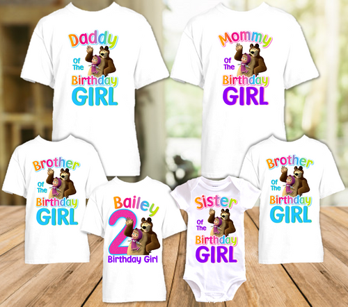 Masha and The Bear Birthday Party Personalized T Shirt or Onesie - 6 Pack - MB6P