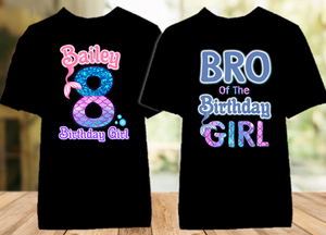 Mermaid Birthday Party Personalized Color T Shirt - 2 Pack - MEC2P