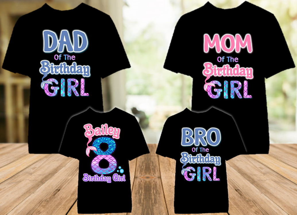 Mermaid Birthday Party Personalized Color T Shirt - 4 Pack - MEC4P