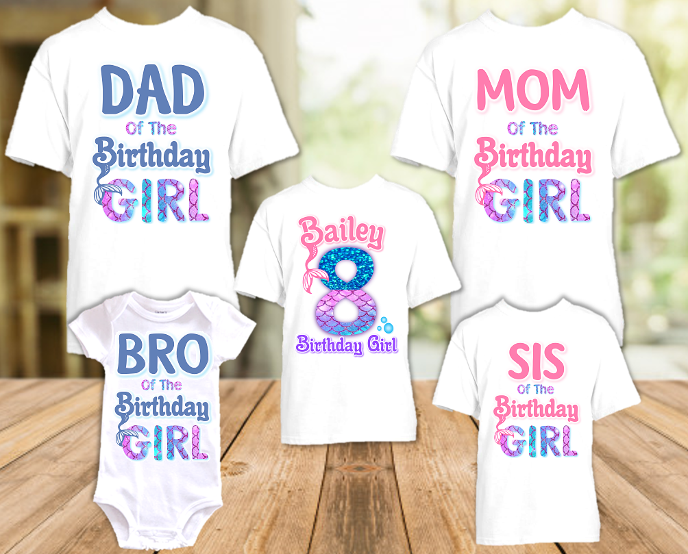 Mermaid Birthday Party Personalized T Shirt or Onesie -  5 Pack - M5P