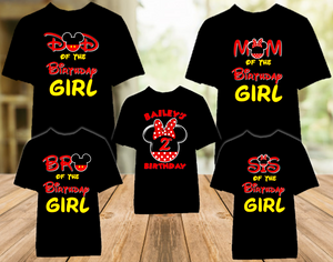 Minnie Mouse Red Bow Birthday Party Personalized Color T Shirt - 5 Pack - MINMEC5P1