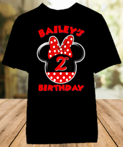 Minnie Mouse Red Bow Birthday Party Personalized Color T Shirt - All Sizes - MINMECS2