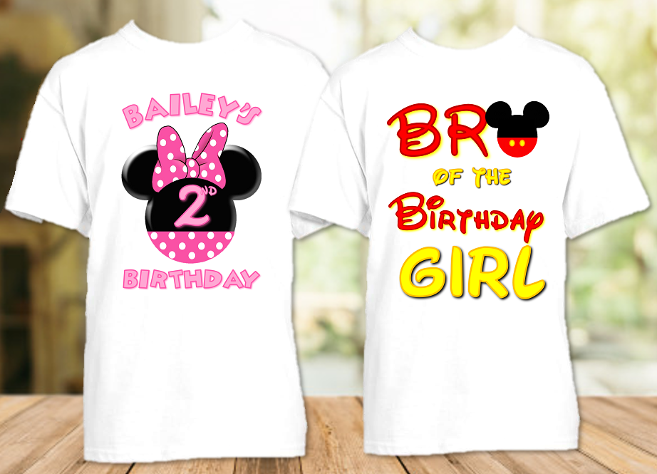 Minnie Mouse Pink Bow Birthday Party Personalized T Shirt or Onesie - 2 Pack - MINME2P